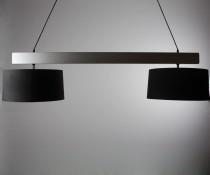 Luminaire pub 2 globes noir abat jour en toile
